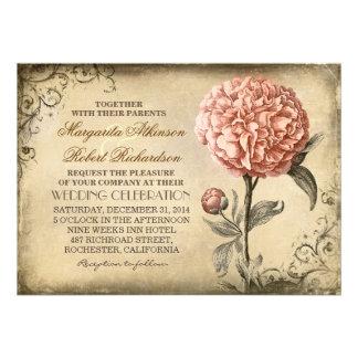 invitación rústica del boda del vintage con el peo