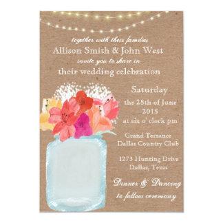 Invitación rústica del boda - encanto del tarro de