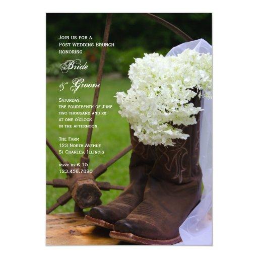 Invitación rústica del brunch del boda del poste
