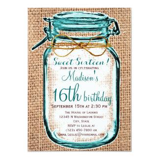 Invitación rústica del cumpleaños del tarro de invitación 11,4 x 15,8 cm