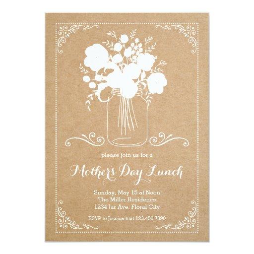 Invitación rústica del día de madre