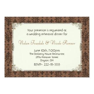 Invitación rústica del ensayo del boda del damasco