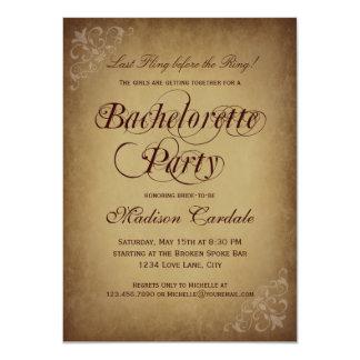 Invitación rústica del fiesta de Bachelorette del