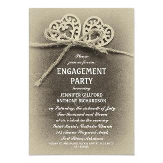 invitación rústica del fiesta de compromiso del