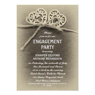 invitación rústica del fiesta de compromiso del vi