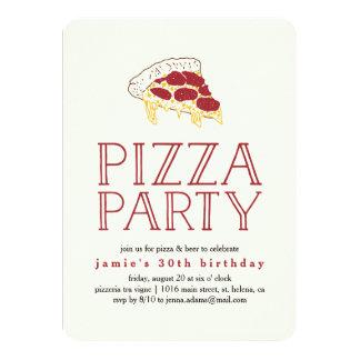 Invitación rústica del fiesta de la pizza