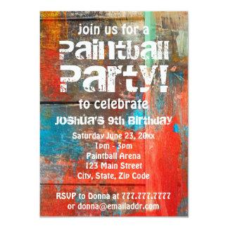 Invitación rústica del fiesta de Paintball del