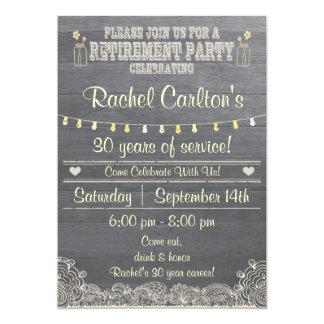 Invitación rústica del fiesta de retiro del tarro