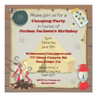 Invitación rústica del fiesta que acampa invitación 13,3 cm x 13,3cm