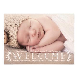 Invitación rústica del nacimiento de la foto del invitación 12,7 x 17,8 cm