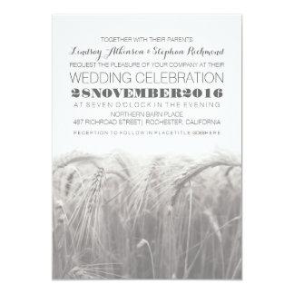 Invitación rústica elegante del boda del trigo del