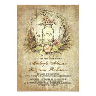 Invitación rústica floral del boda del tarro de