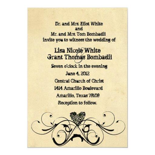 Invitación rústica lamentable del boda