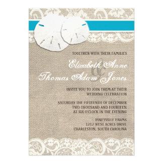 Invitación rústica Malibu del boda del cordón de l