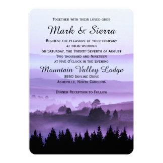 Invitación rústica púrpura del boda de la montaña