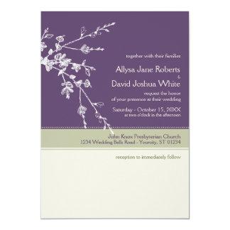 Invitación sabia del boda del ciruelo