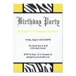 Invitación salvaje amarilla de la fiesta de invitación 12,7 x 17,8 cm