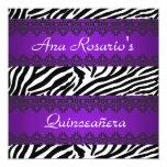 Invitación salvaje de la púrpura de Quinceañera