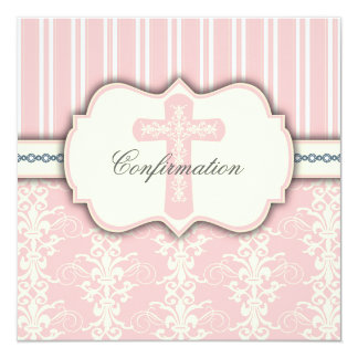 Invitación santa del damasco del rosa del vintage invitación 13,3 cm x 13,3cm