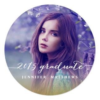 Invitación simple 2015 de la fiesta de graduación invitación 13,3 cm x 13,3cm