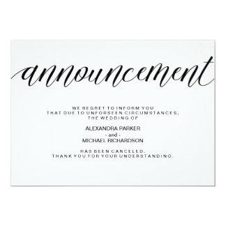 Invitación simple de la cancelación del boda