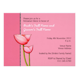 Invitación simple de la cena del ensayo del rosa 1