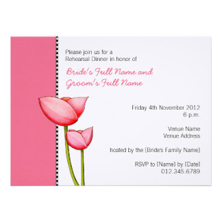 Invitación simple de la cena del ensayo del rosa 2