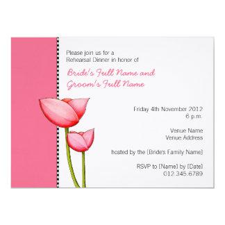 Invitación simple de la cena del ensayo del rosa 2 invitación 16,5 x 22,2 cm
