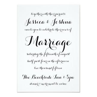 Invitación simple del boda de la tipografía de la