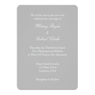 Invitación simple del boda del llano gris del