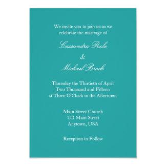 Invitación simple llana blanca azul del boda del