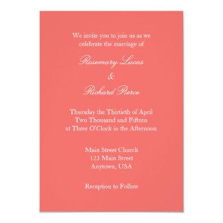 Invitación simple llana blanca coralina del boda