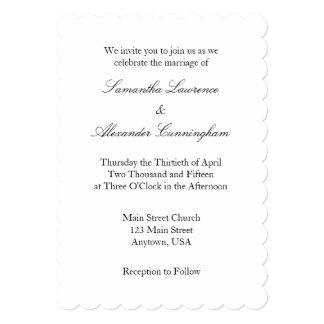 Invitación simple llana blanca del boda