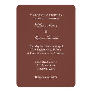 Invitación simple llana blanca del boda de Brown