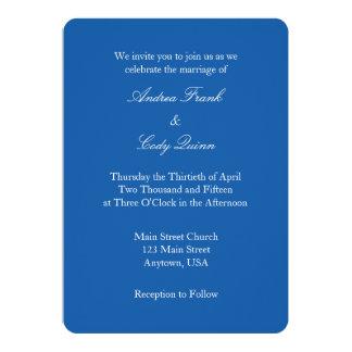 Invitación simple llana blanca del boda del azul