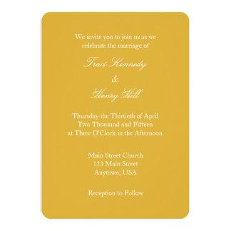 Invitación simple llana blanca del boda del oro