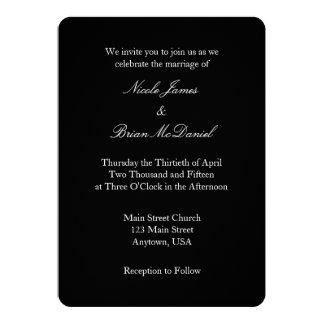 Invitación simple llana blanca negra del boda