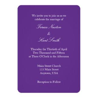 Invitación simple llana blanca púrpura del boda