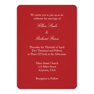 Invitación simple llana blanca roja del boda