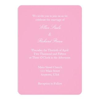 Invitación simple llana blanca rosada del boda