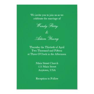 Invitación simple llana blanca verde del boda