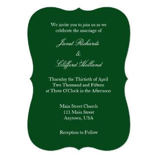 Invitación simple llana blanca verde oscuro del