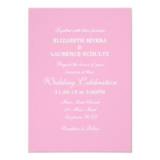 Invitación simple llana rosada del boda