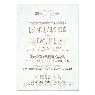 Invitación simple rústica del boda de la viruta