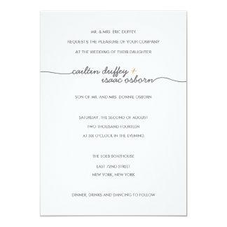 Invitación simplemente elegante del boda del oro invitación 12,7 x 17,8 cm
