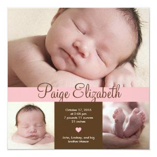 Invitación simplemente preciosa del nacimiento - invitación 13,3 cm x 13,3cm