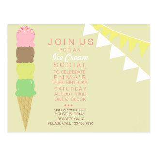 Invitación social del fiesta del helado tarjetas postales
