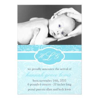 Invitación sofisticada del bebé azul