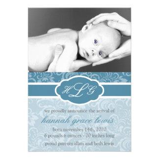Invitación sofisticada del bebé azul de acero