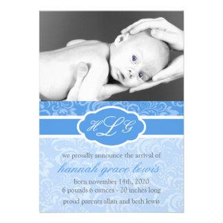Invitación sofisticada del bebé azul real